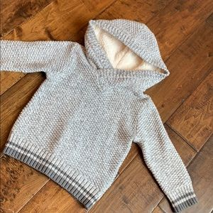 Knit hoodie with Sherpa lined hood